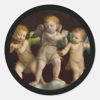 Three Little Cherubs or Angels Classic Round Sticker