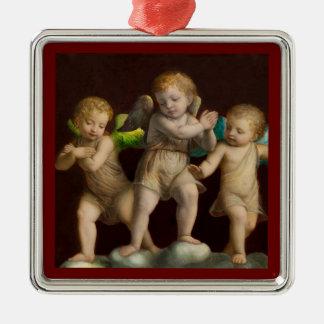 Three Little Cherubs or Angels Metal Ornament