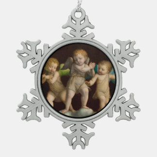 Three Little Cherubs or Angels Snowflake Pewter Christmas Ornament