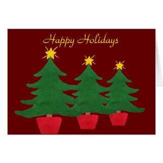 Three Little Christmas Trees - Happy Holidays Card