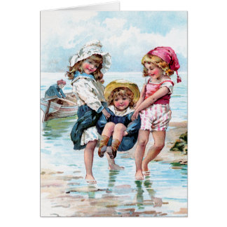 Three Little Girls Playing at the Beach Card