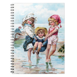 Three Little Girls Playing at the Beach Note Books