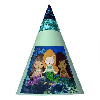 Three Little Mermaids Birthday Party Hat