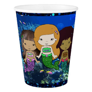 Three Little Mermaids Birthday Party Paper Cups Paper Cup