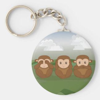 Three Little Monkeys Basic Round Button Keychain