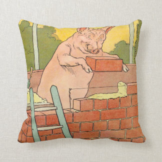 Three Little Pigs: Bricks to Build a House Throw Pillow