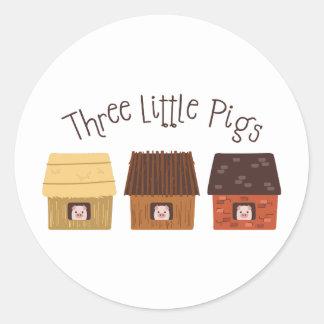 Three Little Pigs Classic Round Sticker