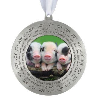 Three little pigs - cute pig - three pigs pewter ornament