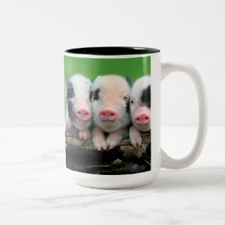 Three little pigs - cute pig - three pigs Two-Tone coffee mug