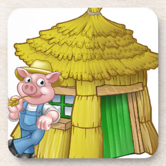 Three Little Pigs Fairy Tale Straw House Coaster