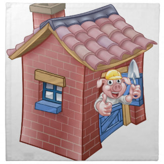 Three Little Pigs Fairy Tale Straw House Napkin