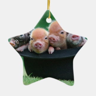 Three little pigs - three pigs - pig hat ceramic ornament