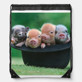 Three little pigs - three pigs - pig hat drawstring bag