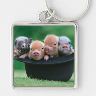 Three little pigs - three pigs - pig hat keychain