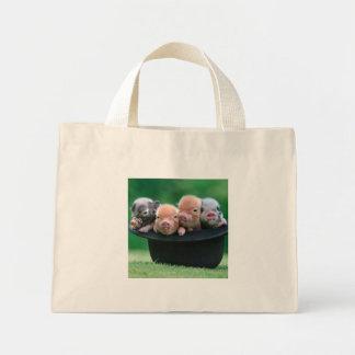 Three little pigs - three pigs - pig hat mini tote bag