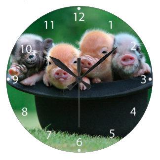 Three little pigs - three pigs - pig hat wall clocks
