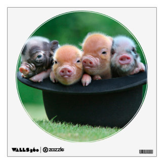 Three little pigs - three pigs - pig hat wall decal