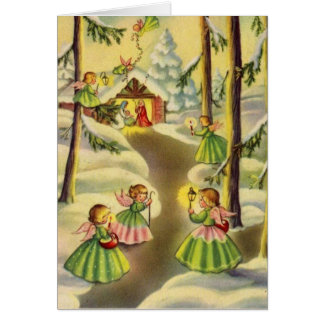 Three Little Vintage Christmas Angels Card