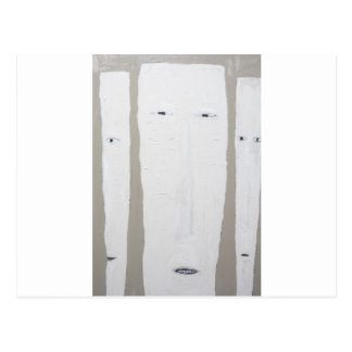 Three Long Faces (Naive expressionism) Postcard