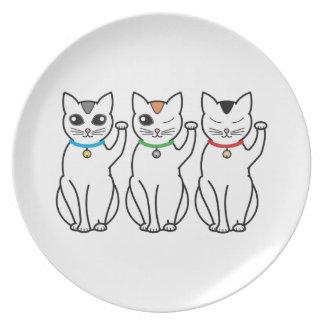 Three Lucky Cats Dinner Plates