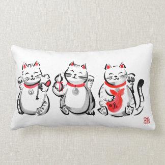 Three Lucky Greeters Lumbar Pillow