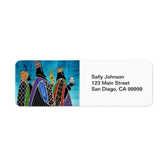 Three Magi Bearing Gifts Under Starry Sky Return Address Label