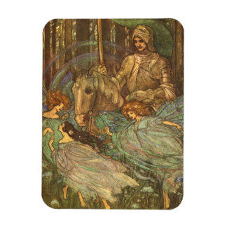 Three Maidens and a Knight, Rectangular Photo Magnet