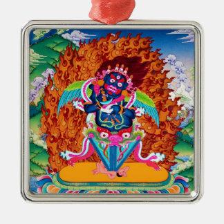 Three Major Saints Cool oriental Dorje Phurba Silver-Colored Square Ornament