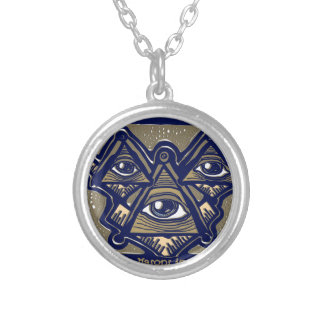 Three Masons in Space by ParanormalPrints Silver Plated Necklace