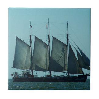 Three masted sailing ship tile