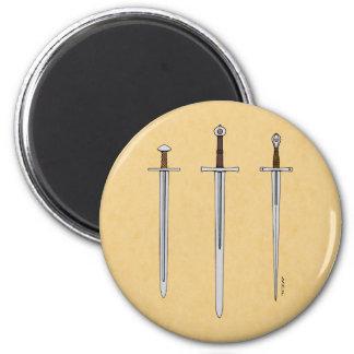 Three Medieval Swords 2016 2 Inch Round Magnet