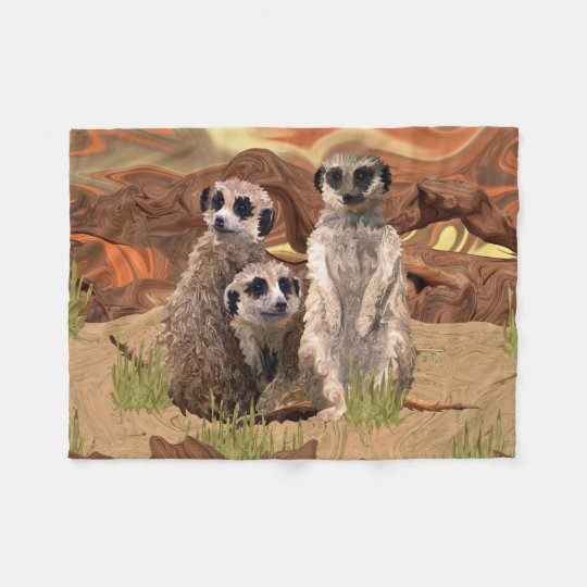 Three Meerly Meerkats Fleece Blanket