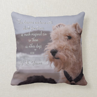 """Three men in a boat"" Montmorency wire fox terrier Throw Pillow"