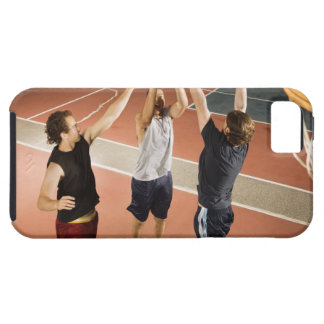 three men in athletic clothing playing iPhone 5 covers