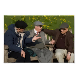 Three Men on a Park Bench Photo Art Poster Print