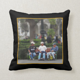 Three Men Talking in the Plaza - Arequipa Throw Pillow