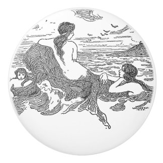 Three Mermaids on the shore Ceramic Knob