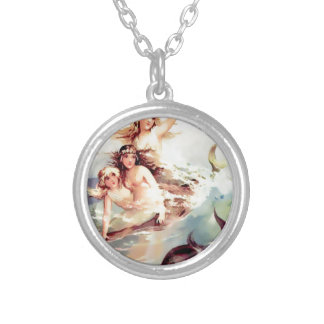 Three Mermaids with Dolphin Vintage style Silver Plated Necklace