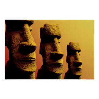 Three Moai poster