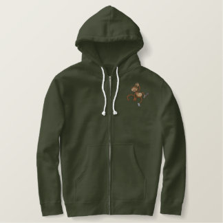 Three Monkeys Embroidered Hoodie