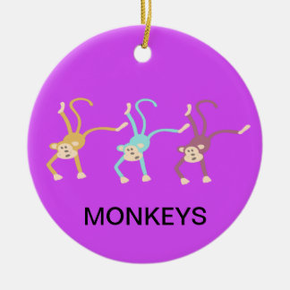 Three monkeys playing ceramic ornament