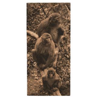 Three Monkeys Wood USB 2.0 Flash Drive