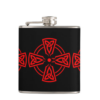 Three Moon Knot Vinyl Wrapped Flask, 6 oz Hip Flask