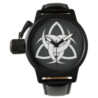 Three Moon Men's Black Leather Strap Watch