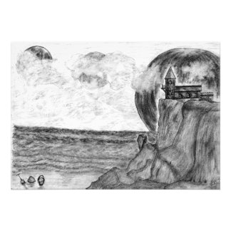 Three Moons A Day at The Beach, Pencil Drawing Photo Art