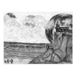 Three Moons A Day at The Beach.Pencil Drawing Postcard