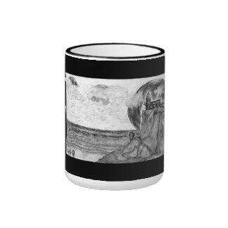 Three Moons A Day at The Beach, Pencil Drawing Ringer Coffee Mug