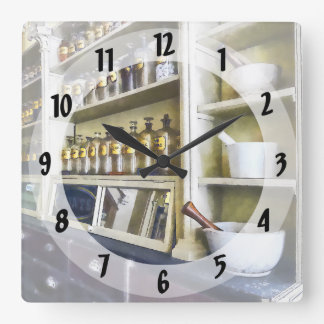Three Mortar and Pestles in Pharmacy Square Wall Clock