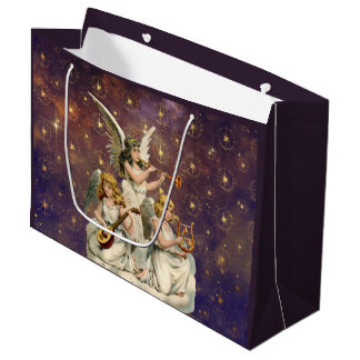 Three Musical Angels Against Purple Sky and Stars Large Gift Bag