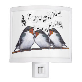 Three Musical Singing Birds, With Notes Night Lite
